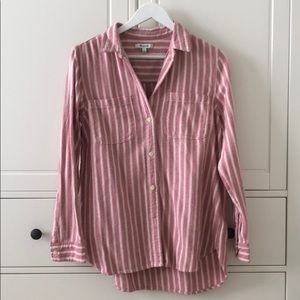 Madewell Pink Stripe Button Up